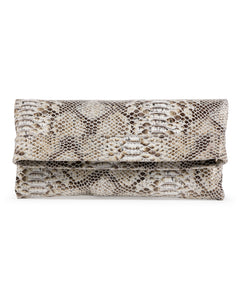 Mollie Cross-Body Convertible Clutch: Camel Snake