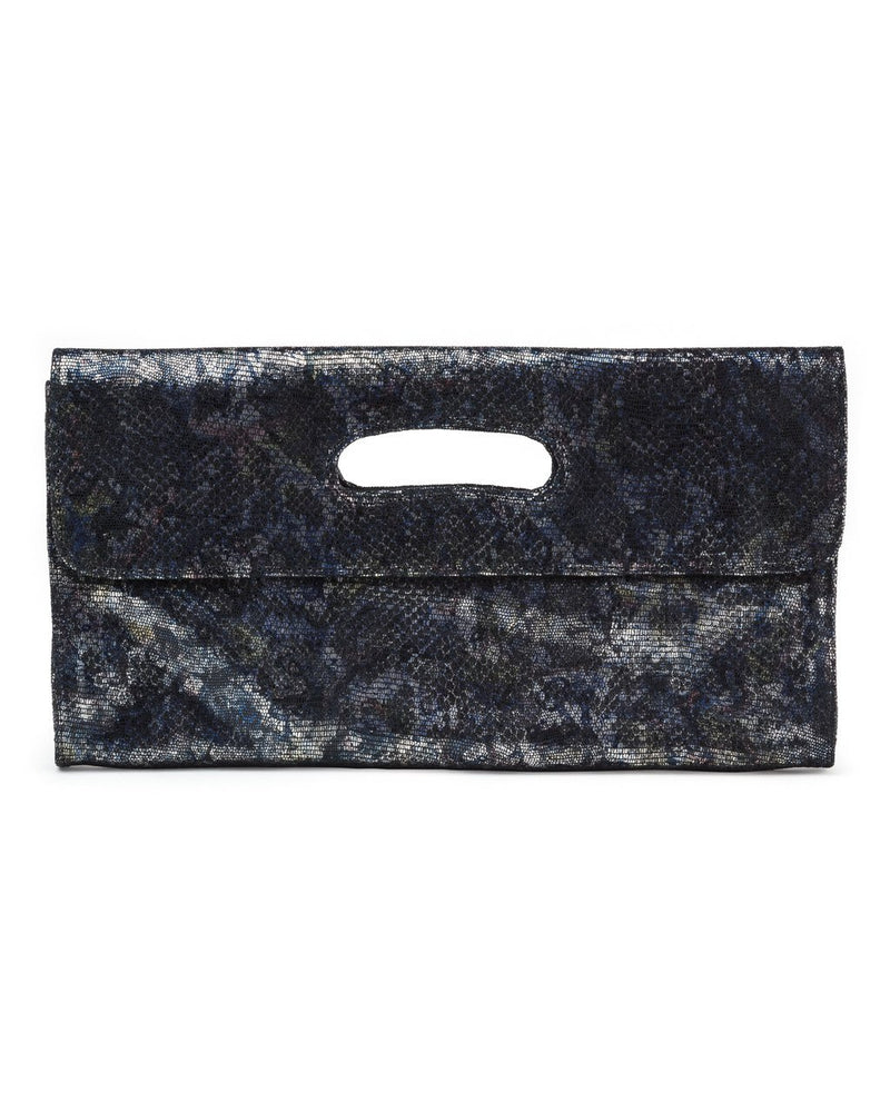 Deeva Clutch: Black/Blue Metallic