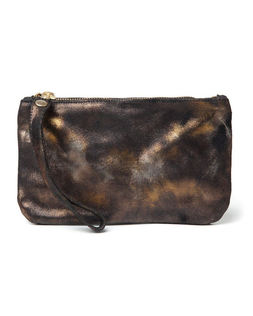 Ellie Wristlet: Black/Gold Metallic