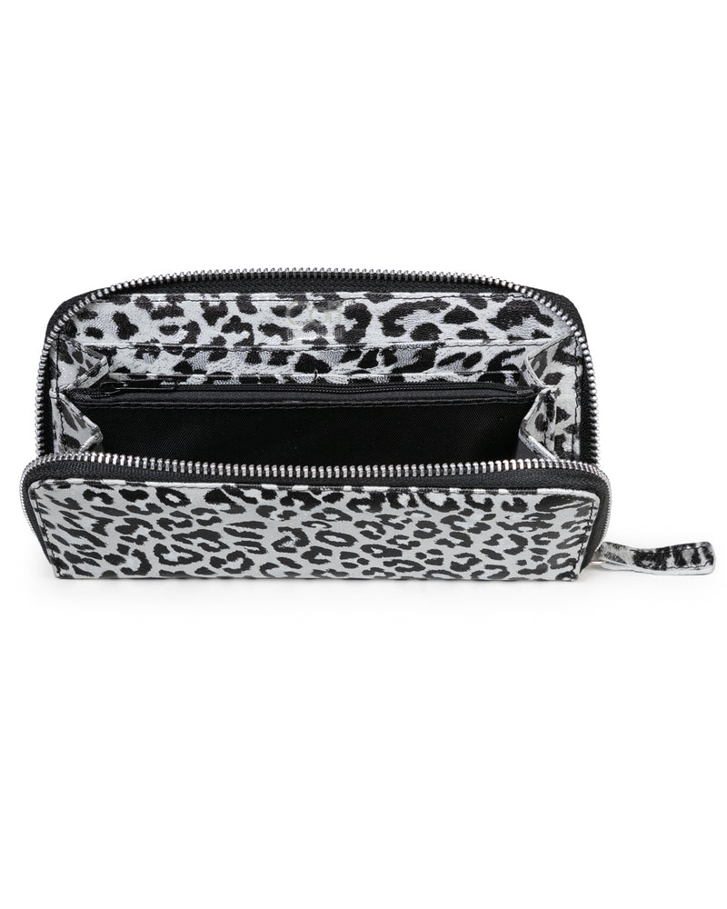 Zip Wallet: Black Silver Leopard