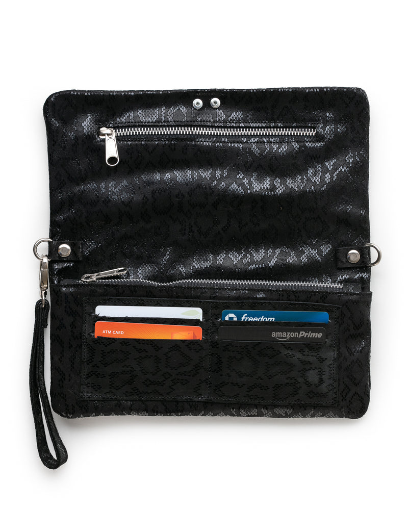 Crystal Cross Body: Black Anaconda