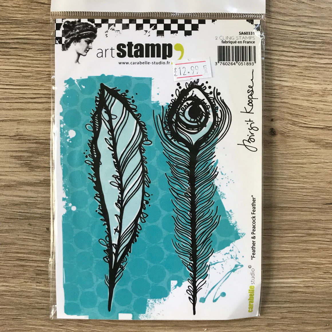 CLEARANCE - Birgit Koopsen Stamp - Feather & Peacock Feather