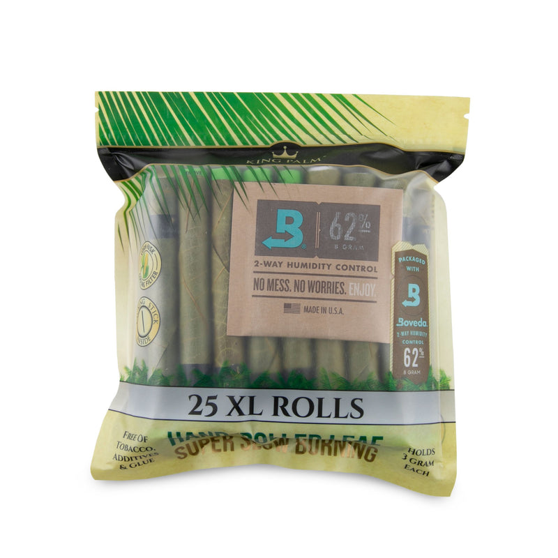 King Palm XL Pre-Rolls 25pk Pouches w/Boveda - 8ct Display (MSRP $34.99 each)