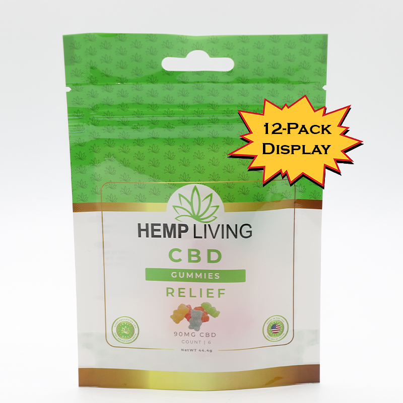 Hemp Living - CBD Relief Gummies - 6ct Pack (12-Pack Display) 90mg CBD (MSRP $9.95 each)