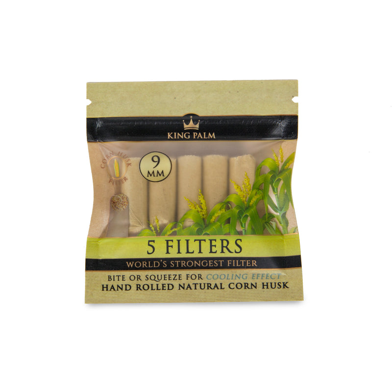 King Palm 9mm 5pk Corn Husk Filters - 24ct Display (MSRP $1.99 each)