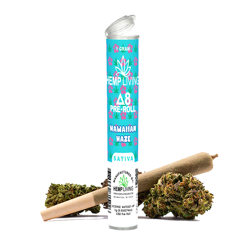 Hemp Living - Delta 8 Flower 1g Pre-Roll - Hawaiian Haze (MSRP $11.95) - Display Box of 10