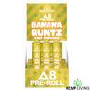 Hemp Living - Delta 8 Flower 1g Pre-Roll - Banana Runtz High Potency Kief Infused (MSRP $11.95) - Display Box of 10