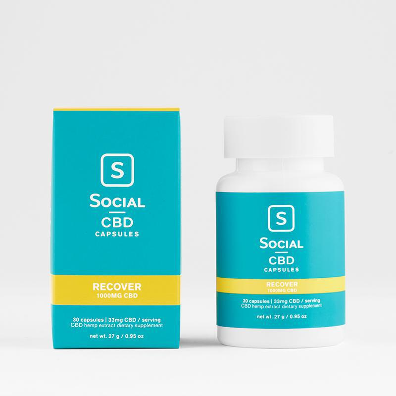 Social CBD Recover Soft Gels Capsules 30ct 1000mg Bottle  (MSRP $64.99)
