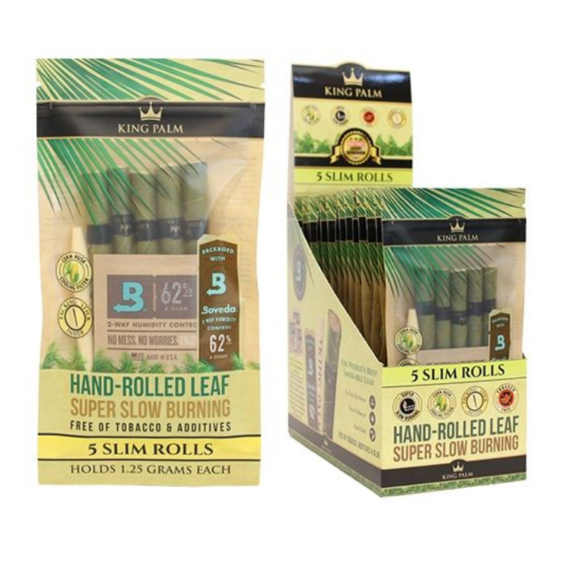 King Palm Slim Pre-Rolls 5pk Pouches w/Boveda - 15ct Display (MSRP $5.99 each)
