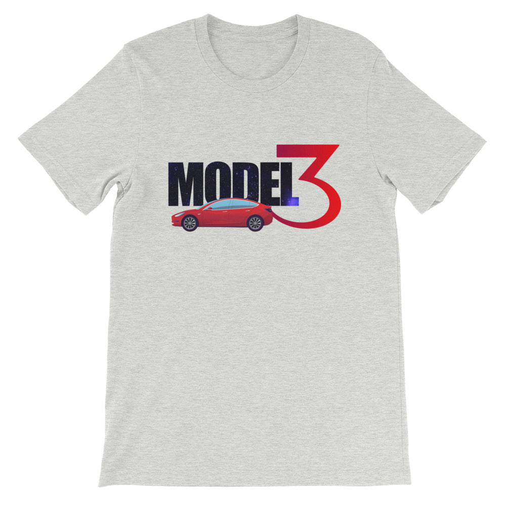 Red Model 3 Space Text - Short-Sleeve Unisex T-Shirt