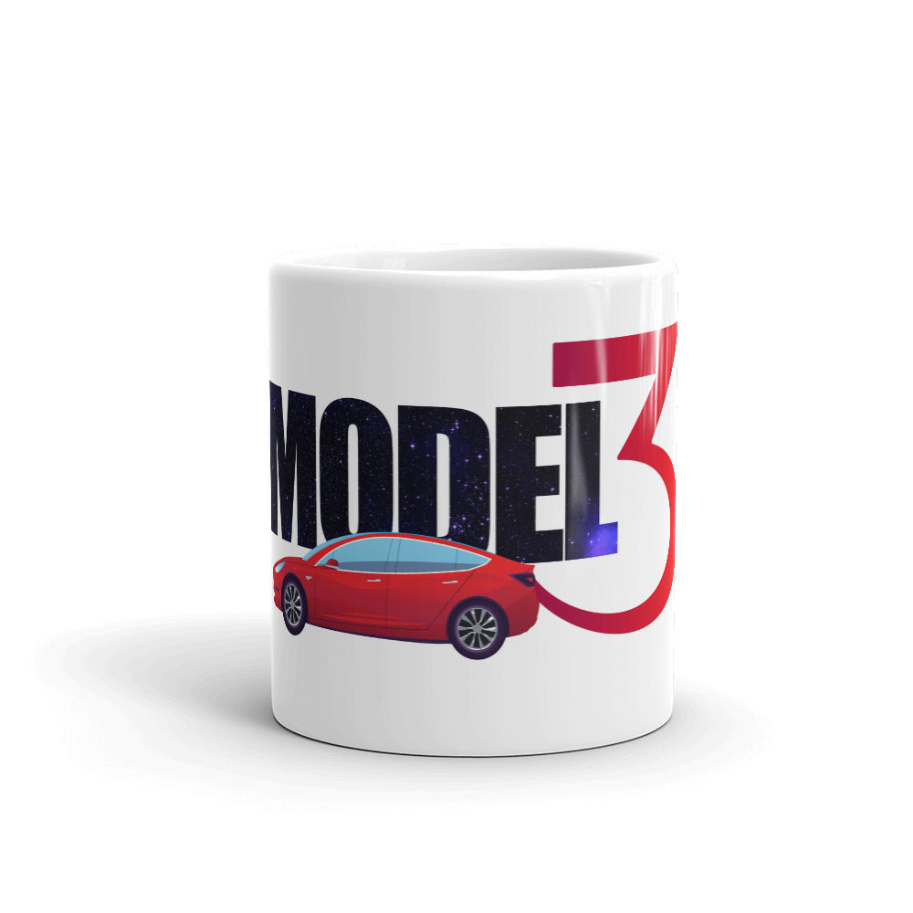 Red Model 3 Space Text - Mug