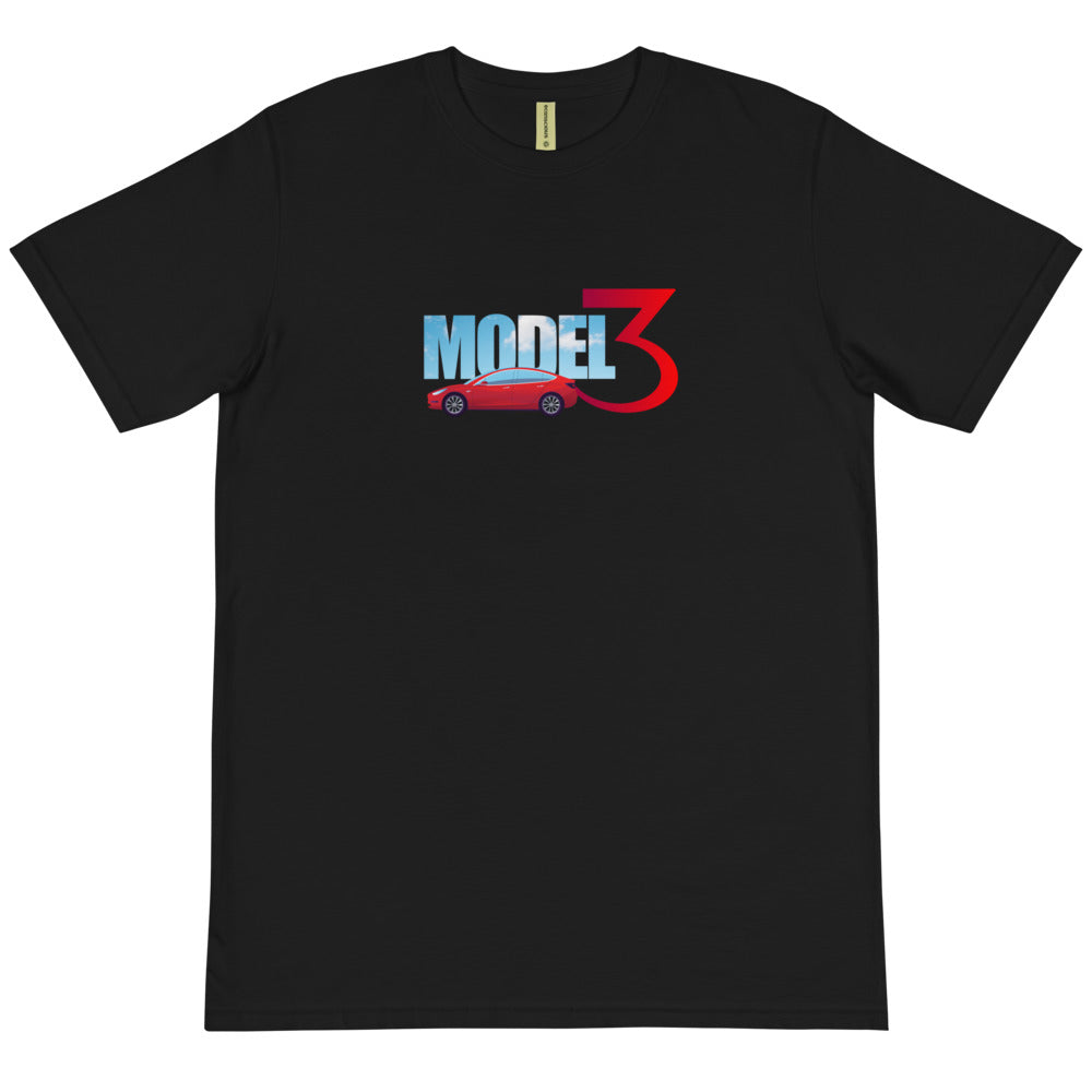 Red Model 3 Sky Text - Organic T-Shirt