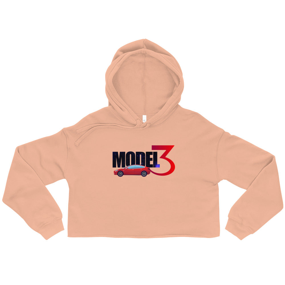 Red Model 3 Space Text - Crop Hoodie