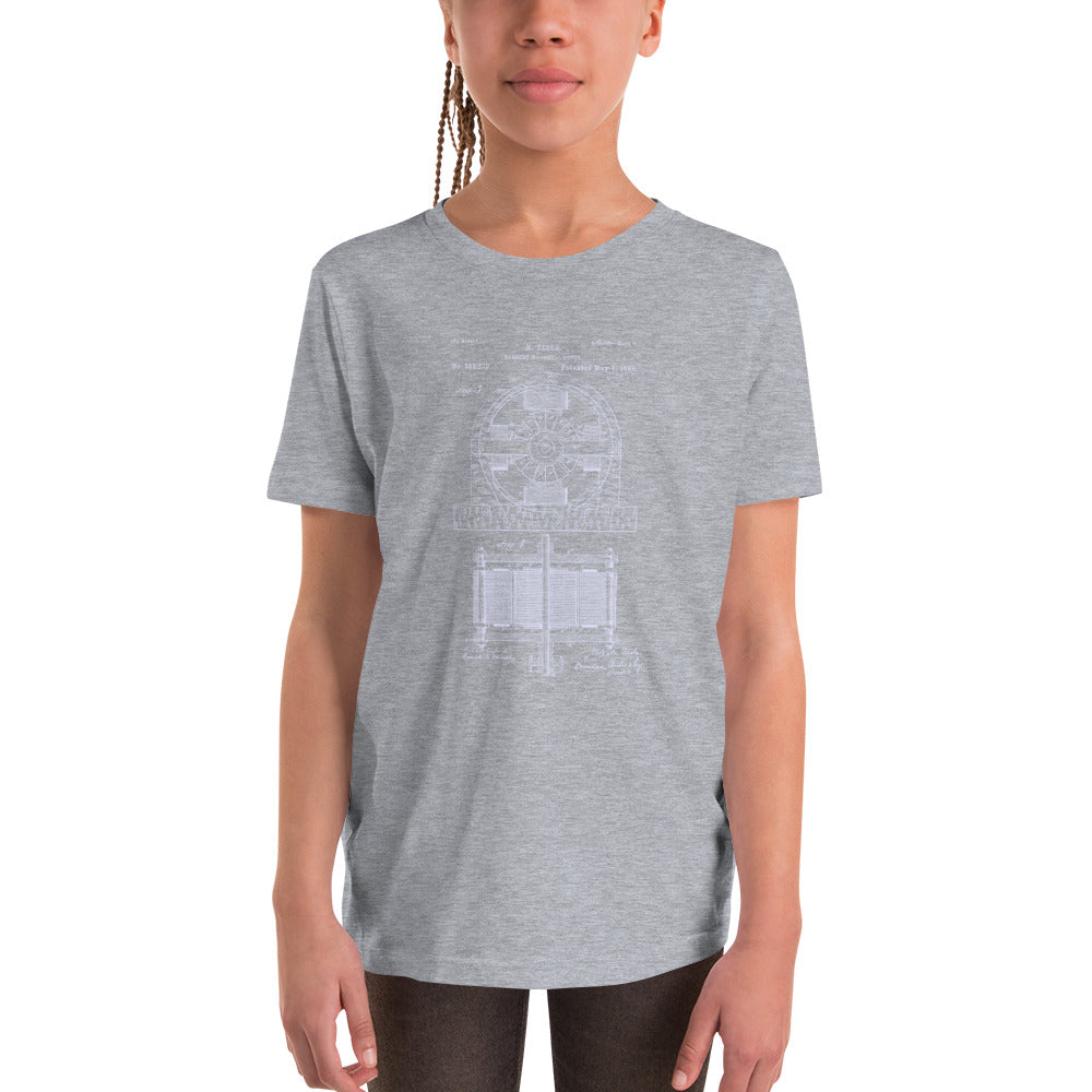 Electromagnetic Motor Patent - Youth Short Sleeve T-Shirt