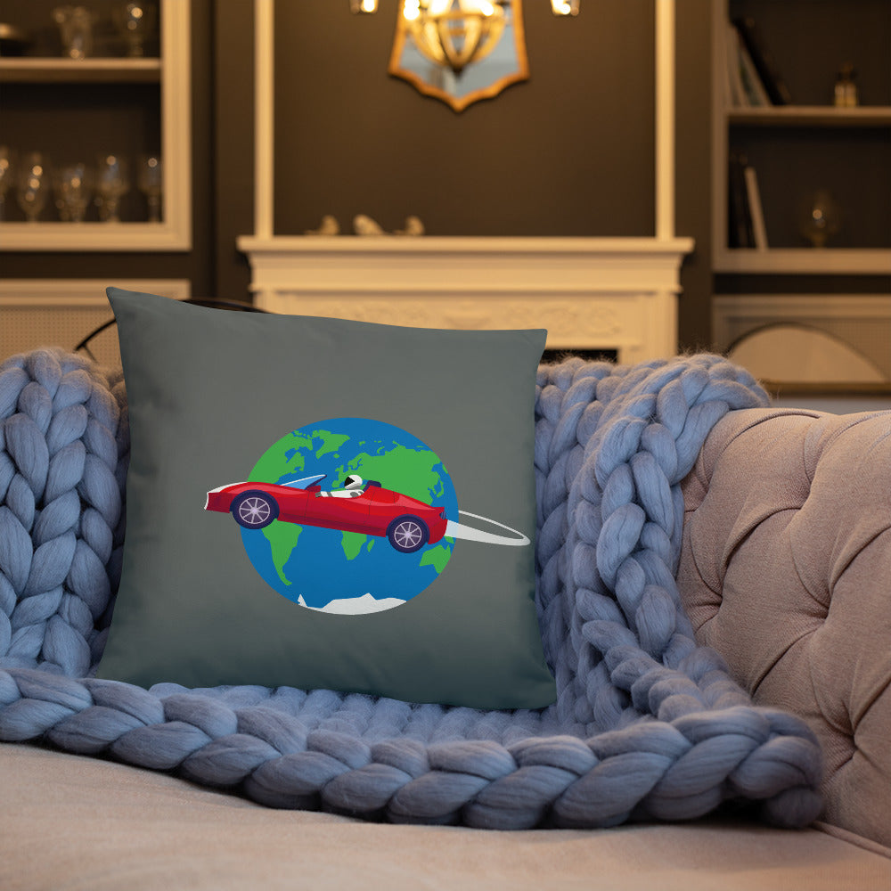 Starman Circles The Earth - Basic Pillow