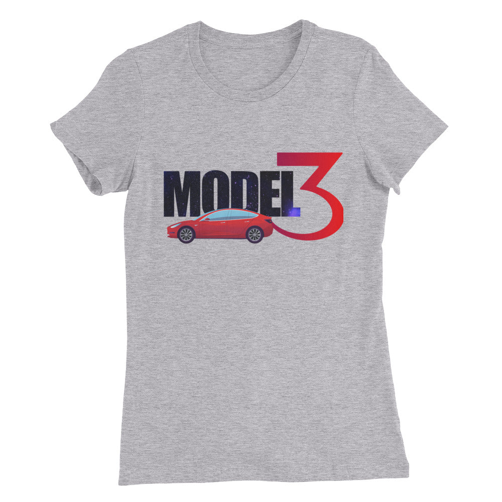 Red Model 3 Space Text - Women's Slim Fit T-Shirt