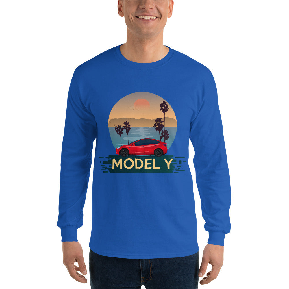 Red Model Y Beach Scene - Men's Long Sleeve Shirt