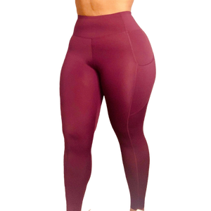 Everyday Luxe 7/8 Pocket Legging - Wine - W by Crystal White