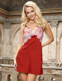High-end Satin Lace Stitching Open Back Ladies Pajamas
