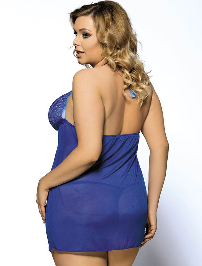 Classy Blue Sheer Mesh Lace Cup Plus Size Halter Babydoll Dress