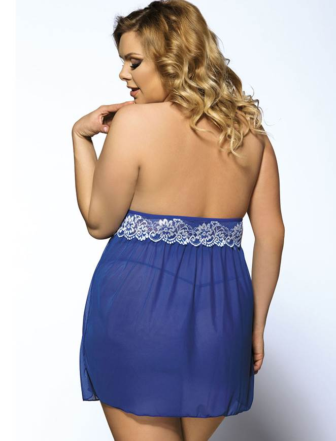 Free Shipping Blue Floral Embroidery Plus Size Halter Babydoll