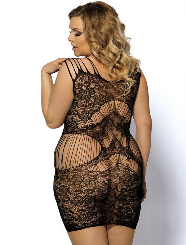 Stylish Queen Size Strappy Fishnet Bodystocking Lingerie