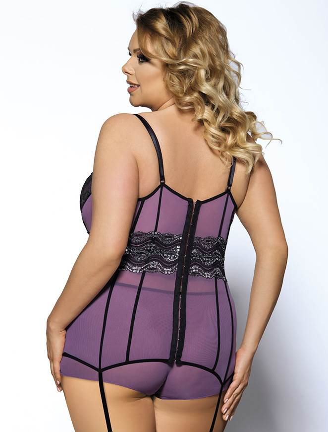 Elegant Purple Sequins Mesh Underwired Plus Size Babydoll Lingerie