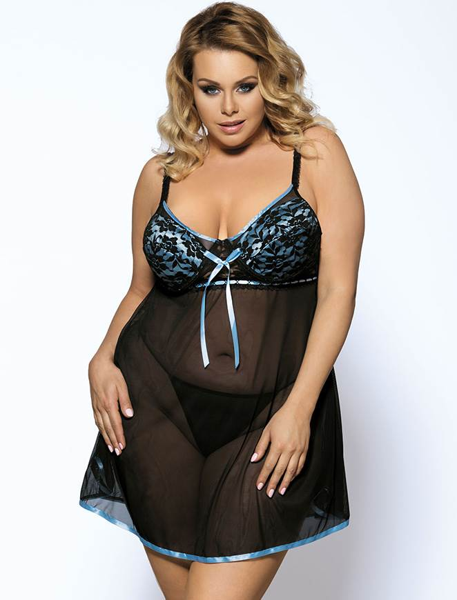 Delicate Plus Size Black Mesh See Through Babydoll Lingerie Set