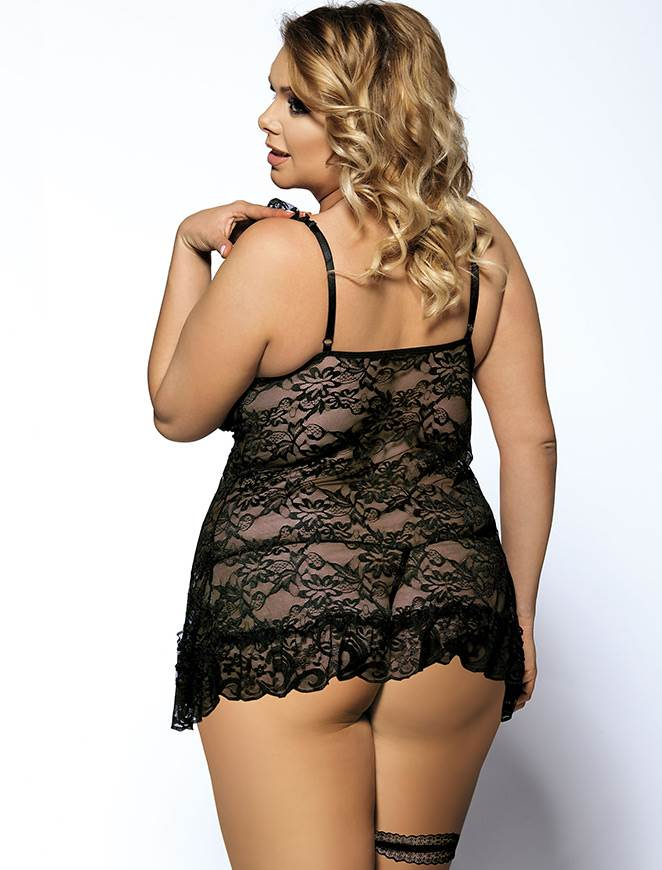 Stylish Black Sheer Floral Lace Plus Size Babydoll Top With Leg Ring