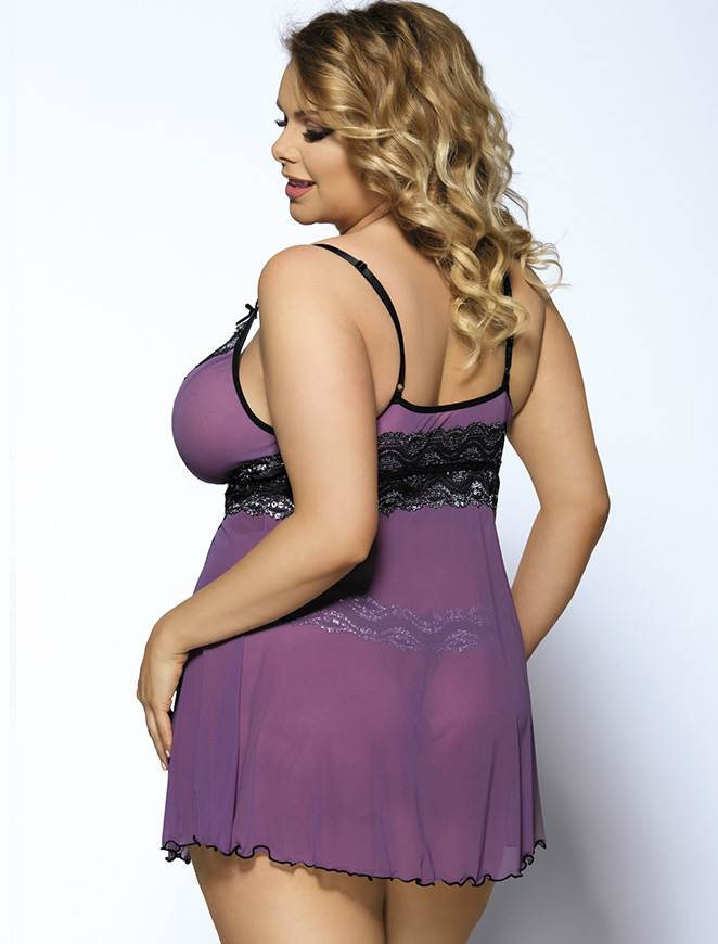 Plus Size Purple Sheer Mesh Sequins Women Babydoll Lingerie