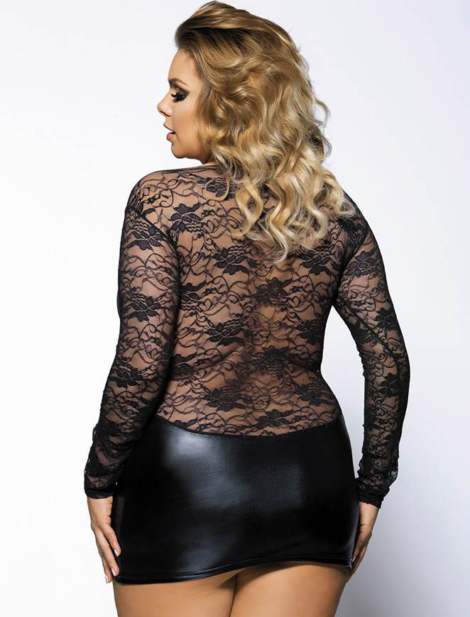 Plus Size Black Leather Lingerie Sexy Floral Mesh Long Sleeve Lingerie
