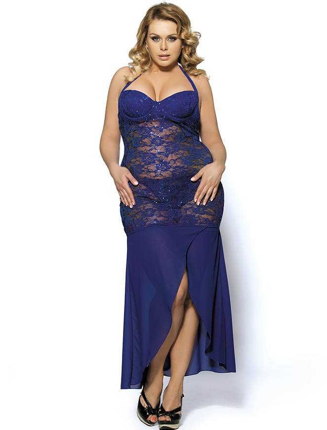 Elegant Blue Floral Lace Underwired Mesh Halter Plus Size Maxi Gown