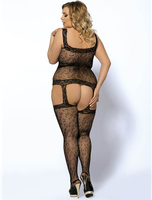 Plus Size Leopard Pattern Crotchless Black Fishnet Bodystocking