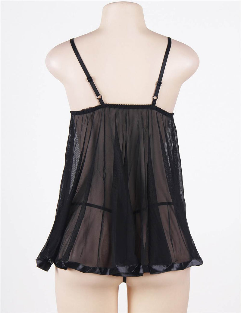 Plus Size Black Babydoll Lingerie Transparent Mesh Sleep Dress