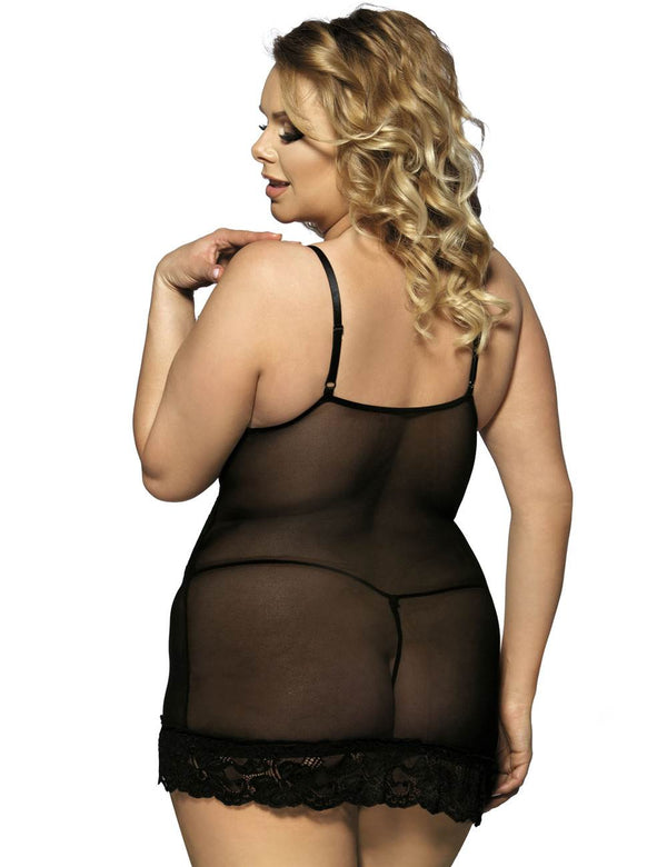 Stylish Black Sheer Lace Transparent Embroidered Plus Size Babydoll