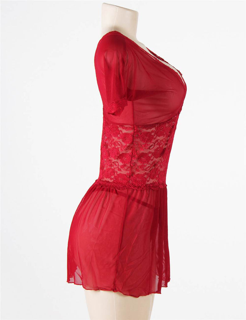 Delicate Red Lace Deep V Neck Sleep Dress Women Sexy Babydoll Lingerie