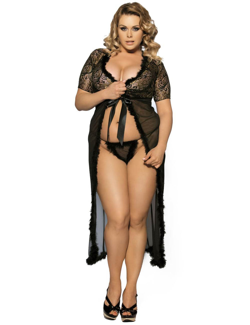 Free Shipping Superb Plus Size Embroidery Maxi Gown Sexy Robe