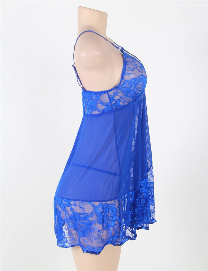 Free Shipping Plus Size Soft Lace Blue Babydoll Dress Sleepwear