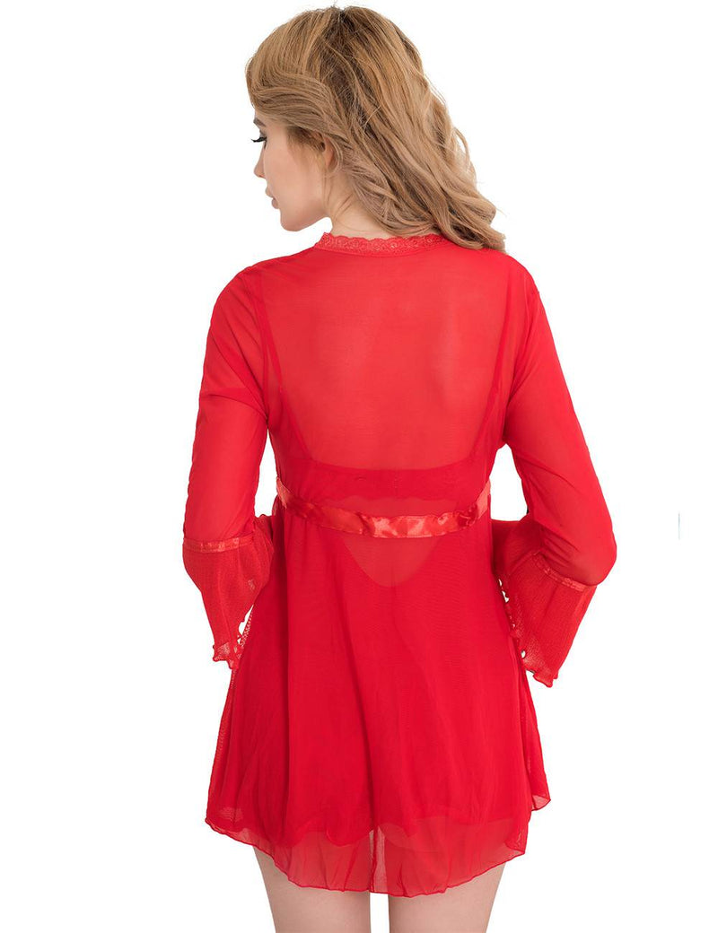 Super Elegant Red Passion Sexy Robe Underwired Babydoll Dress