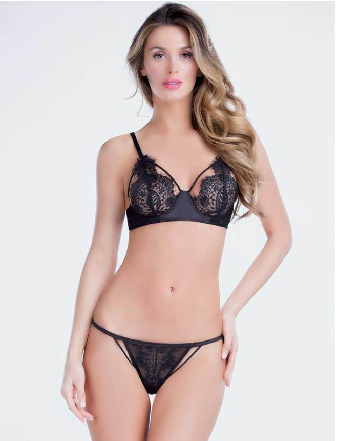 Delicate Black Sheer Lace Underwire Cup Women Sexy Bra Panty Set