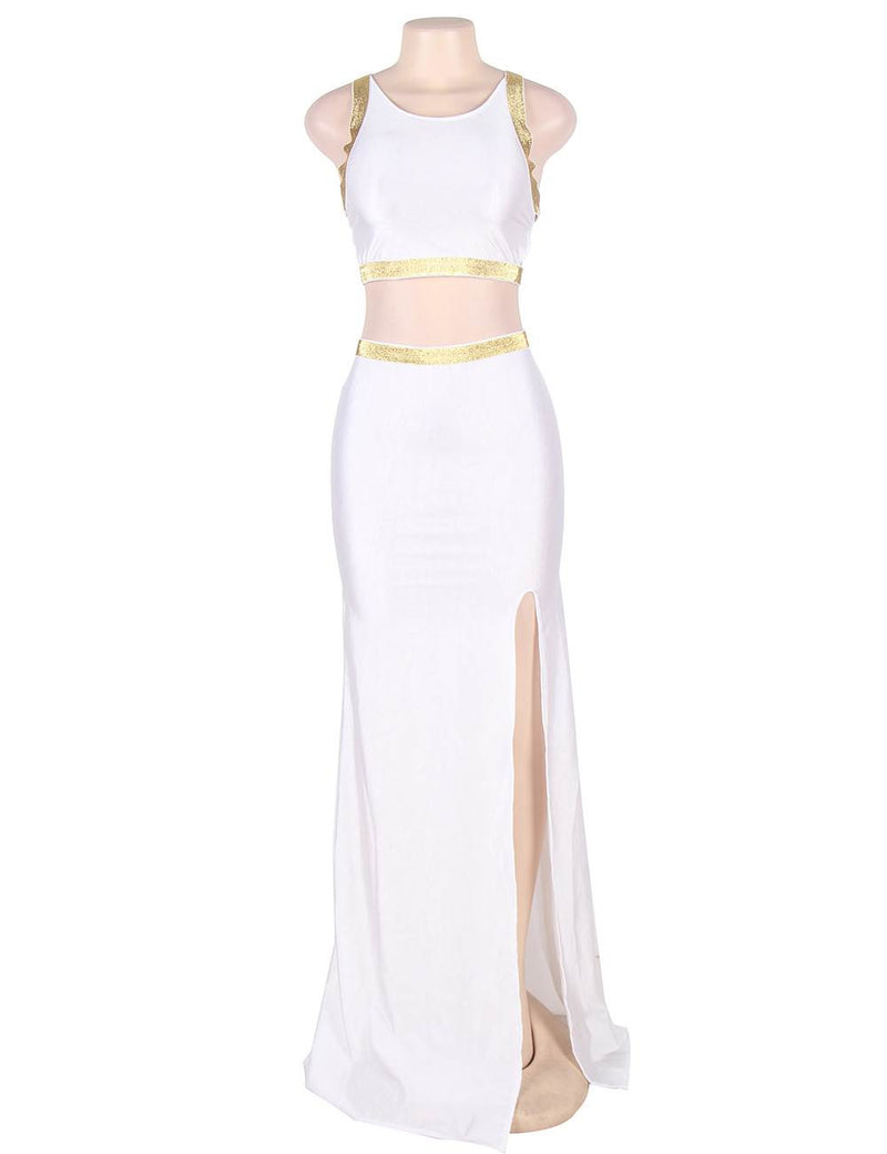 Delicate Two Pieces High Slit Backless White Evening Dresses