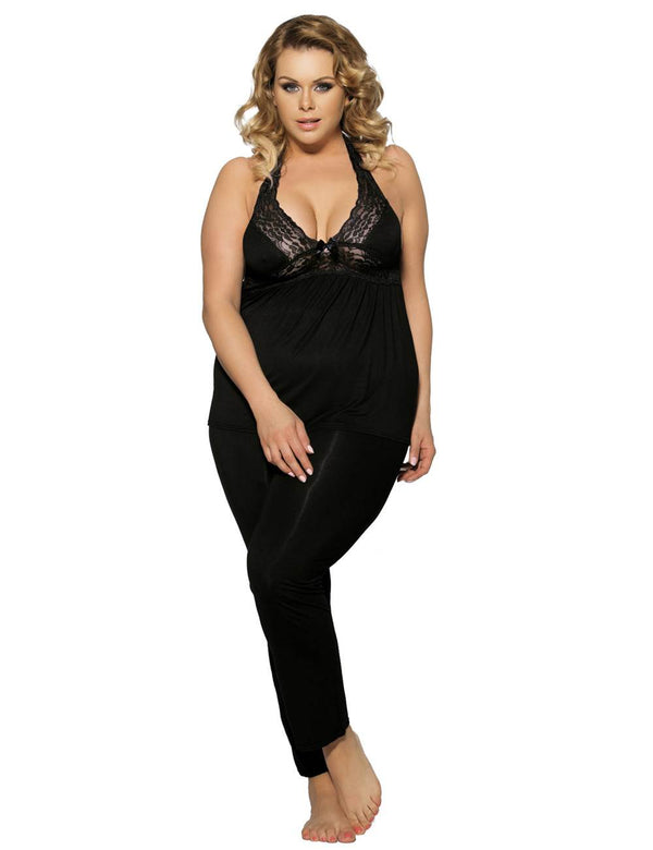 Plus Size Exquisite Cotton Halter Pajama Set With Lace Stitched