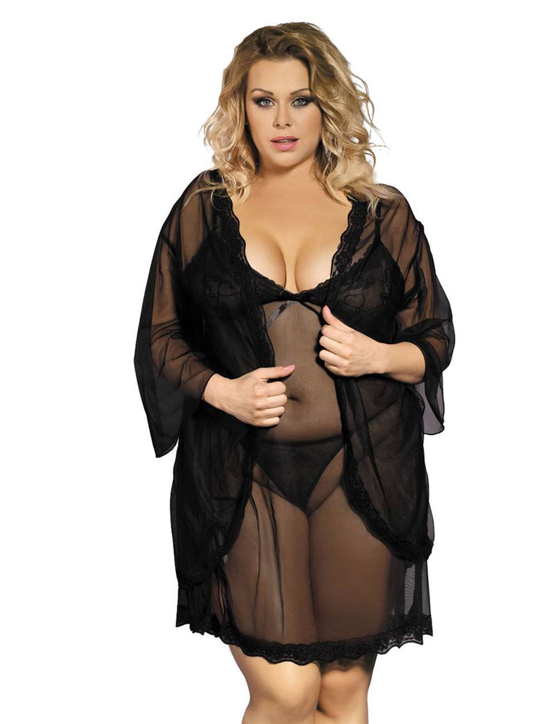 Delicate Purple Plus Size Transparent Lace Robe Lingerie Sleepwear