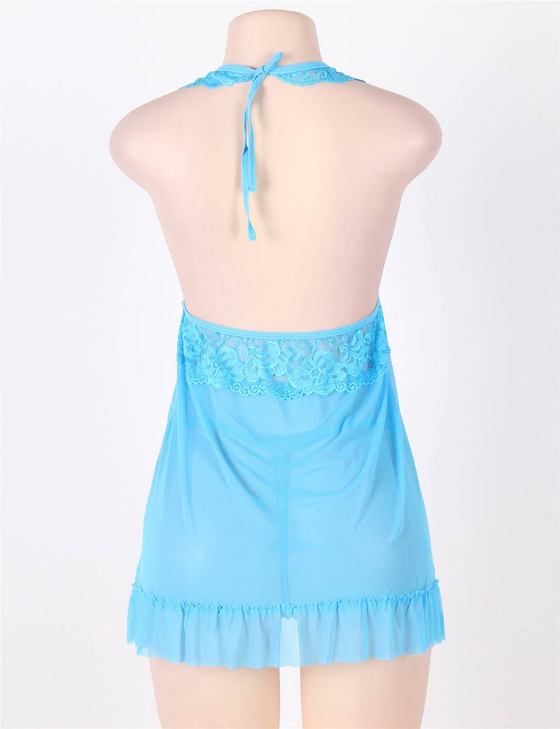 Superb Plus Size Blue Lace Cup Sheer Halter Babydoll Lingerie Set