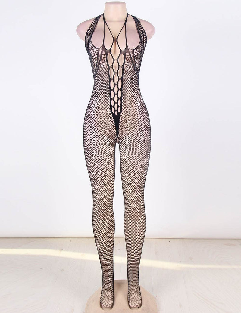 Super Sexy Plus Size Hollow Out Black Fishnet Body Stockings