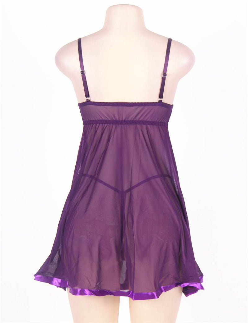 Plus Size Delicate Purple Lace Cup Sheer Stretchy Mesh Babydoll