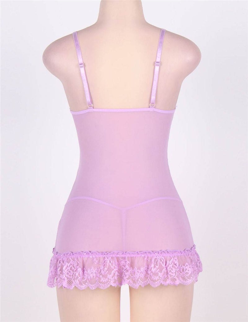 Classy Lilac Sheer Lace Plus Size Mesh Stitching Embroidered Babydoll