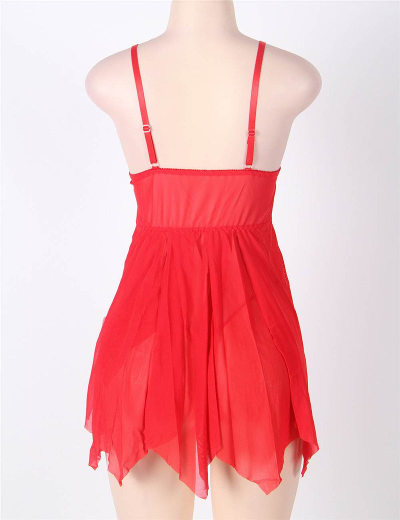 Classy Red Sheer Mesh Stretchy Vintage Floral Lace Babydoll Dress