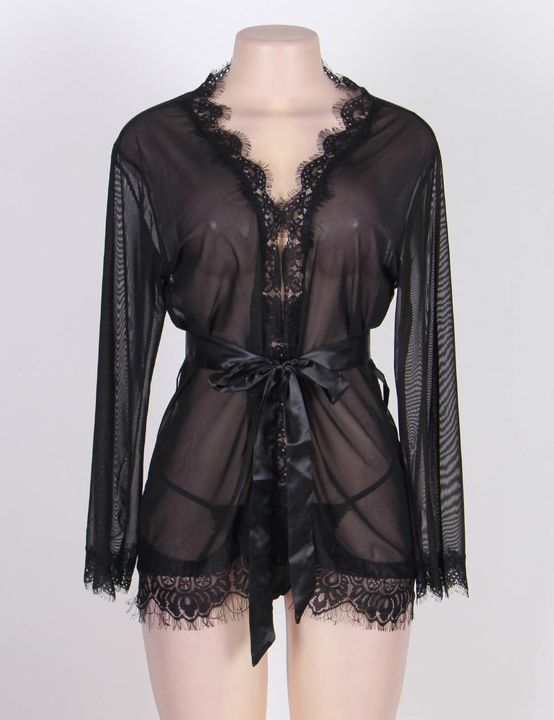 Free Shipping Plus Size Elegant Lace Robe Sexy Nightwear Lingerie