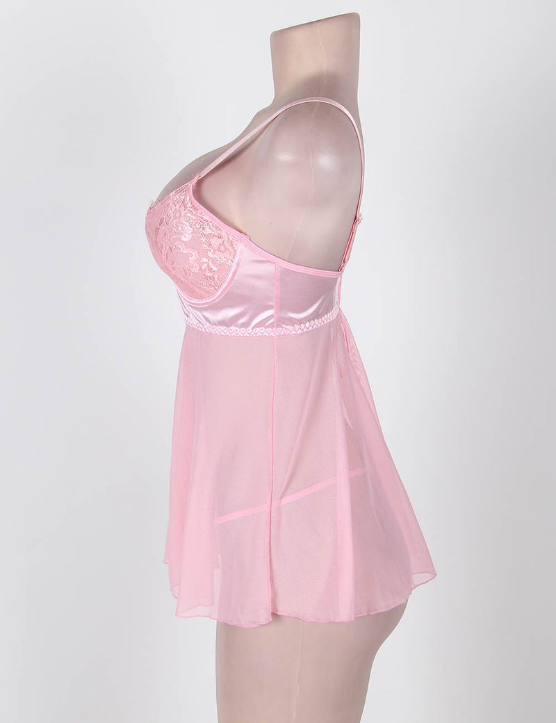Sweet Pink Lace Underwired Cute Style Stretchy Mesh Babydoll Dress